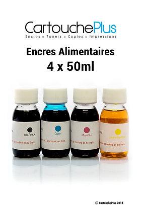 Encres alimentaires - 4 x 50ml (4 couleurs)