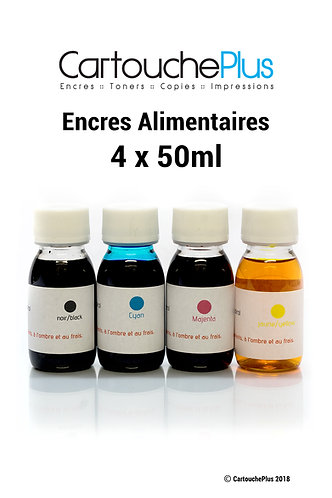 Encres alimentaires - 4 x 50ml (4 couleurs)