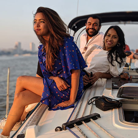 members of a coworking space in Mumbai going sailing