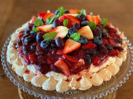 Torta de frutas Pavlova