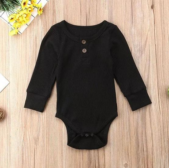 Cotton Button-Up Bodysuit in Black