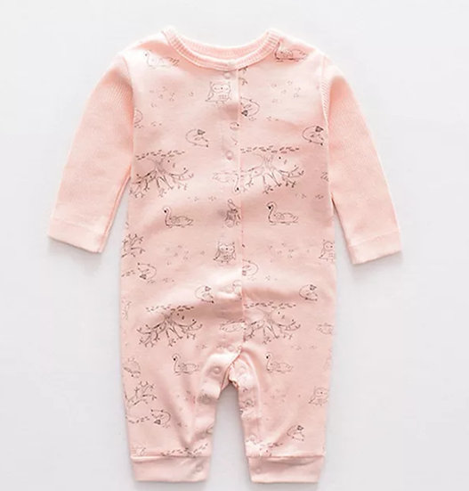 Organic Cotton Animal Onesie in Pink