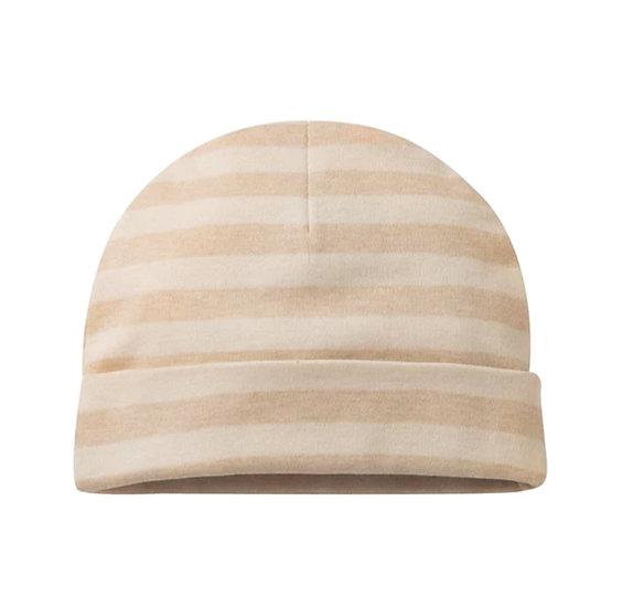 Organic Cotton Newborn Hat in Sand Stripe