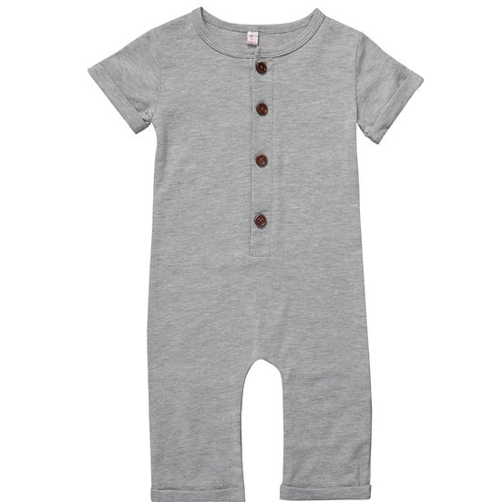Short Sleeve Cotton Button-up Jumpsuit