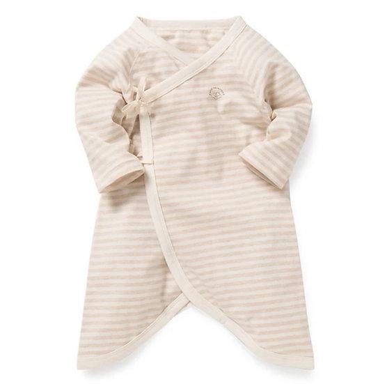 Organic Cotton Kimono Onesie in Sand Stripe