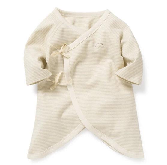 Organic Cotton Kimono Onesie in Sage Stripe