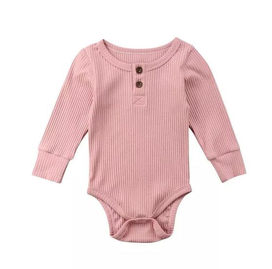 Cotton Button-Up Bodysuit in Pink