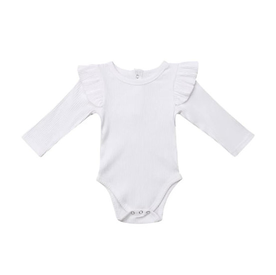 White Ribbed Cotton Button-Up Frill Bodysuit