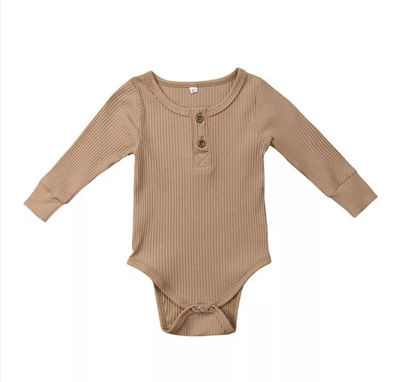 Ribbed Cotton Button-Up Bodysuit in Beige