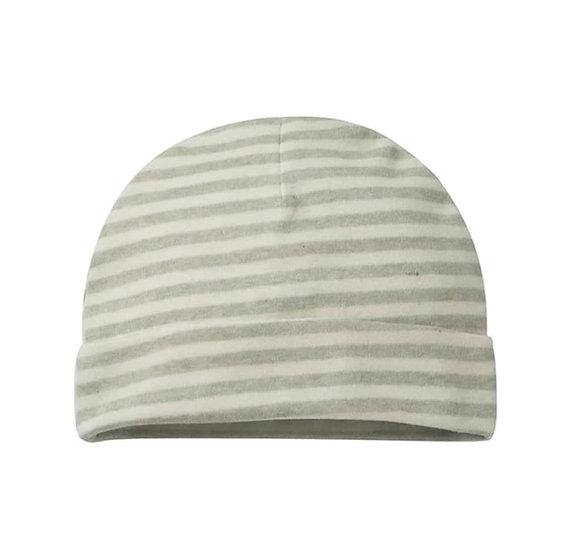Organic Cotton Newborn Hat in Sage Stripe