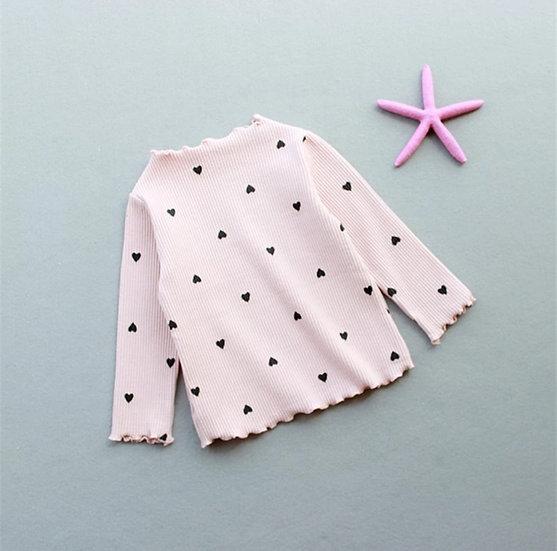 Long Sleeve Love Heart Top Pink