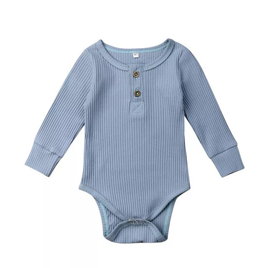 Cotton Button-Up Bodysuit in Blue