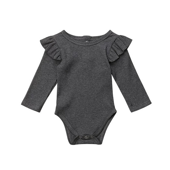 Grey Ribbed Cotton Button-Up Frill Bodysuit