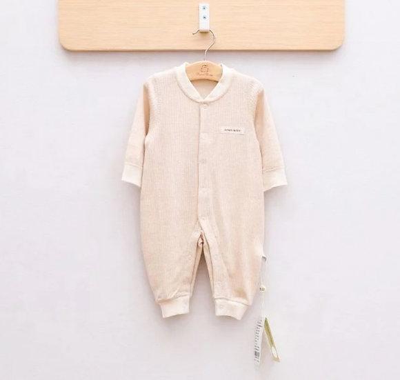 Beige Organic Cotton Knit Onesie