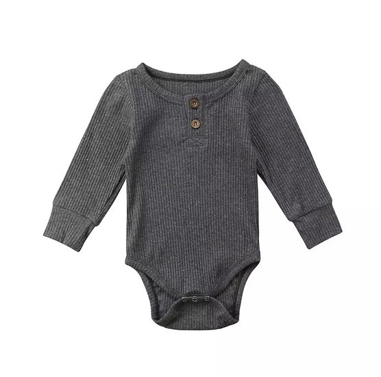 Cotton Button-Up Bodysuit in Grey