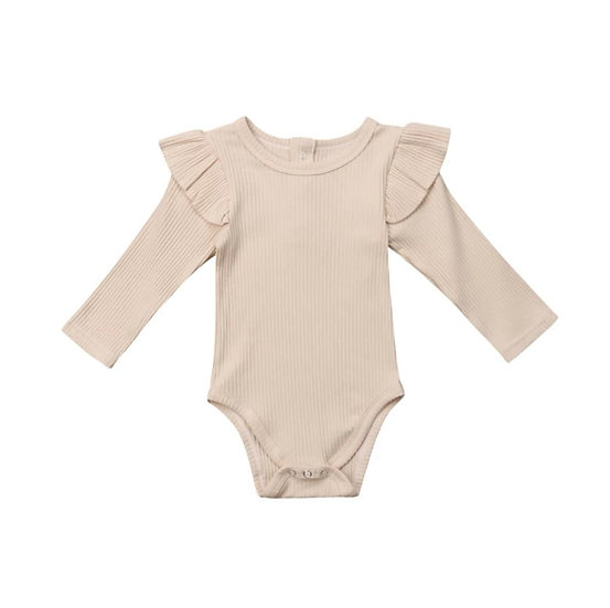 Beige Ribbed Cotton Button-Up Frill Bodysuit