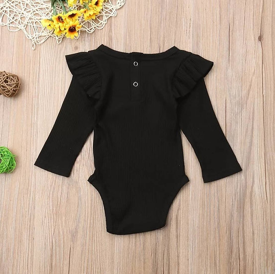 Black Ribbed Cotton Button-Up Frill Bodysuit