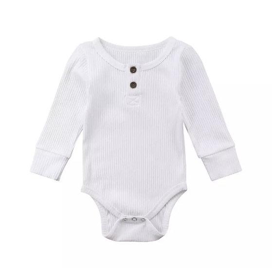 Cotton Button-Up Bodysuit in White