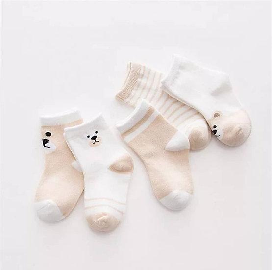 5 Pack Cotton Socks in Beige