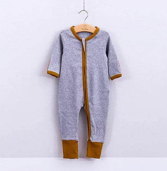 Organic Cotton Zip Winter Onesie in Grey