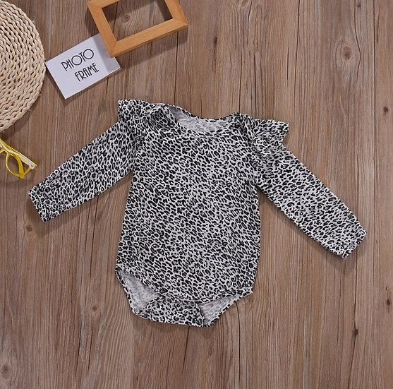 Long Sleeved Leopard Print Bodysuit