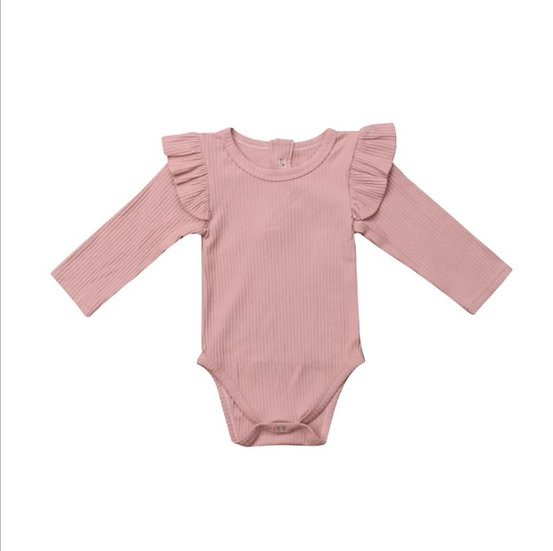 Pink Ribbed Cotton Button-Up Frill Bodysuit