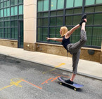 Natarajasana on Skateboard