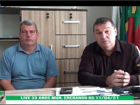 Live de aniversário do município de Erebango teve mais de 7 mil visualizações