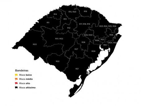 RS tem a sétima semana consecutiva de bandeira preta nas 21 regiões Covid