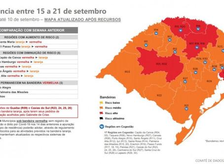 Getúlio Vargas permanece em bandeira vermelha no mapa da 19ª rodada do Distanciamento Controlado