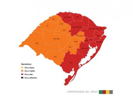Getúlio Vargas fica em vermelho no mapa preliminar da 9ª rodada do Distanciamento Controlado
