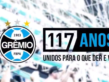 Grêmio comemora aniversário de 117 anos nesta terça-feira (15)