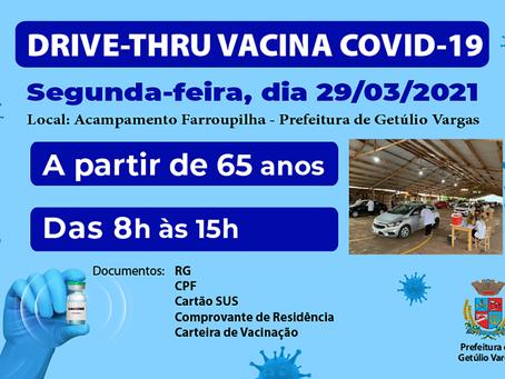 Vacinação contra a Covid-19 segue até às 15h desta segunda-feira (29) em Getúlio Vargas