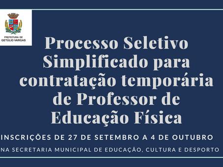 Getúlio Vargas realiza Processo Seletivo Simplificado para Professor de Educação Física
