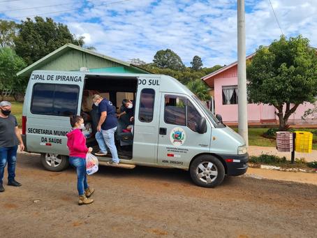 Alimentos doados em vacinação contra a Covid-19 em Ipiranga do Sul são entregues à famílias