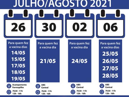 Getúlio Vargas: confira calendário de aplicação de segundas doses da vacina contra a Covid-19