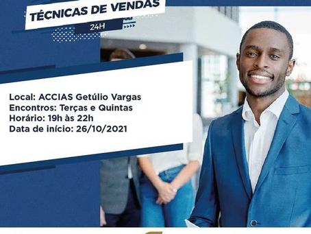 """ACCIAS de Getúlio Vargas está com inscrições abertas para curso """"Técnicas de Vendas"""""""