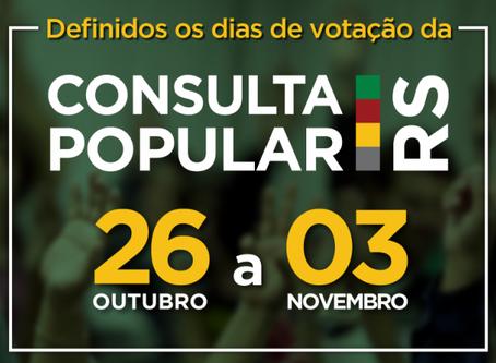 Votação da Consulta Popular será virtual e no final de outubro