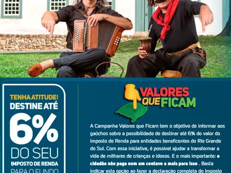 Campanha 'Valores que Ficam' destina até 6% do valor do Imposto de Renda