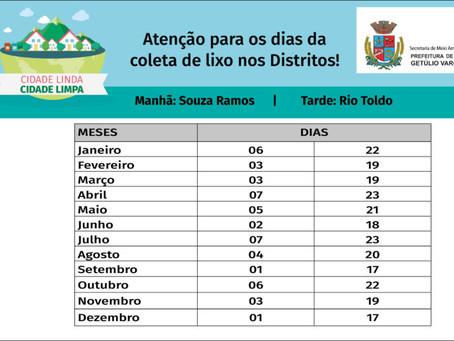 Confira os dias e horários do recolhimento de lixo nos Distritos de Souza Ramos e Rio Toldo
