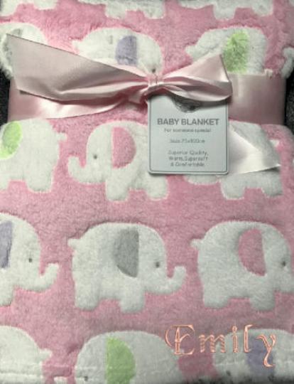 Personalised Baby Pink Elephant fleece Blanket, Embroidered fleece Blankets, Cus