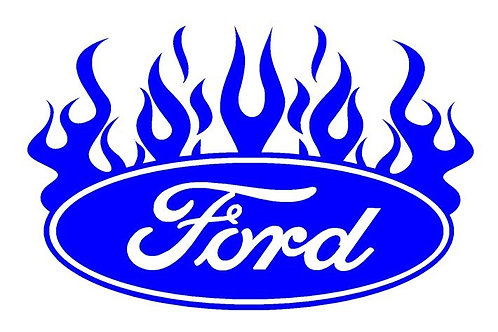 Ford Oval Sticker Vinyl Decal, Ford Oval with Flames Decal, Vinyl Car Decal