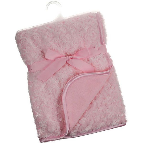 Soft Rose bud Fleece Baby Blankets with Satin trim