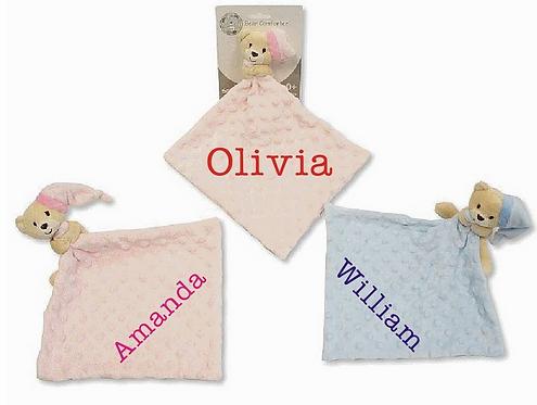Personalised Teddy Bear Baby Comforter, Baby Blankie, Teddy Bear Blankie, Baby