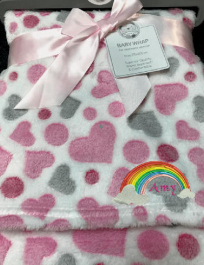 Personalised Baby Pink Hearts fleece Blanket, Embroidered fleece Blankets, Custo