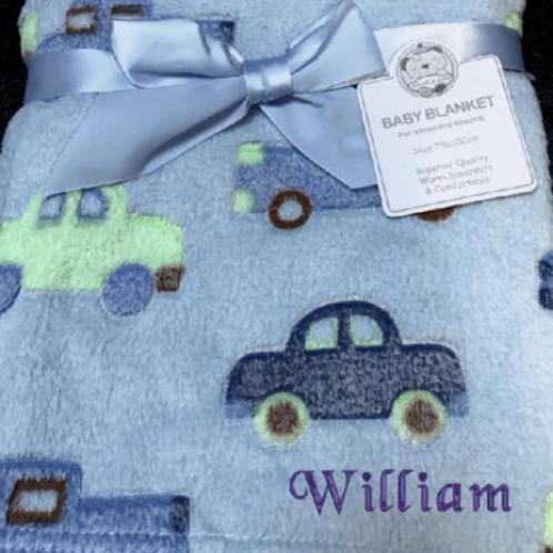 Personalised Baby Cars fleece Blanket, Embroidered fleece Blankets, Customised B