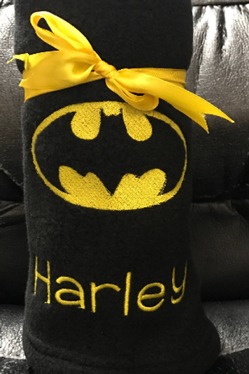 Batman Embroidered Baby Fleece Blanket Embroidered Personalised Newborn Gift, Su