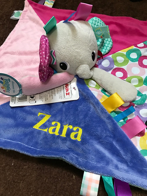 Personalised Taggies Bright Starts Cuddles N Tags Blankie Comforter Baby Taggy B