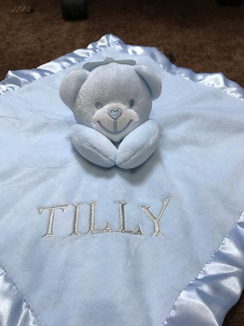 Soft Touch Personalised Baby Comforter Bear Boys & Girls Custom Bespoke Gift, Cu