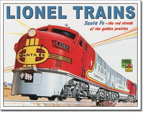 Santa Fe Lionel Trains Tin Sign Replica